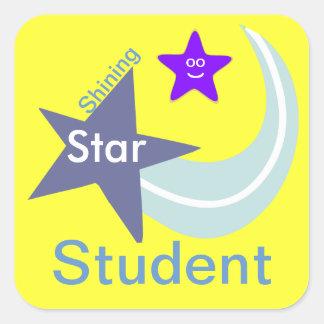 Pegatinas brillantes del estudiante de la estrella pegatina cuadrada