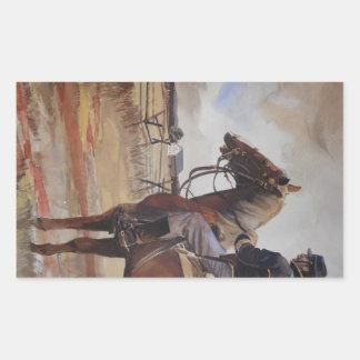 Pegatinas, caballería de la guerra civil pegatina rectangular