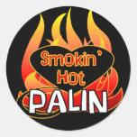 Pegatinas calientes de Smokin Palin Pegatinas Redondas