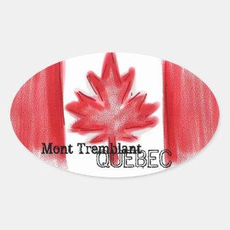 Pegatinas canadienses de la bandera de Mont Pegatina Ovalada