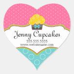 Pegatinas caprichosos de la panadería de la magdal pegatinas de corazon personalizadas