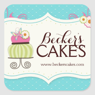 Pegatinas caprichosos de la panadería de la torta pegatina cuadrada