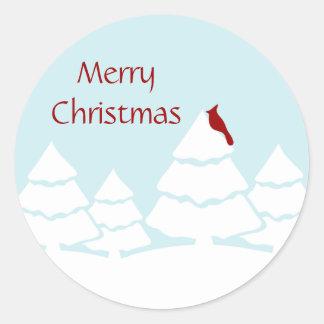 Pegatinas cardinales de las Felices Navidad Pegatina Redonda
