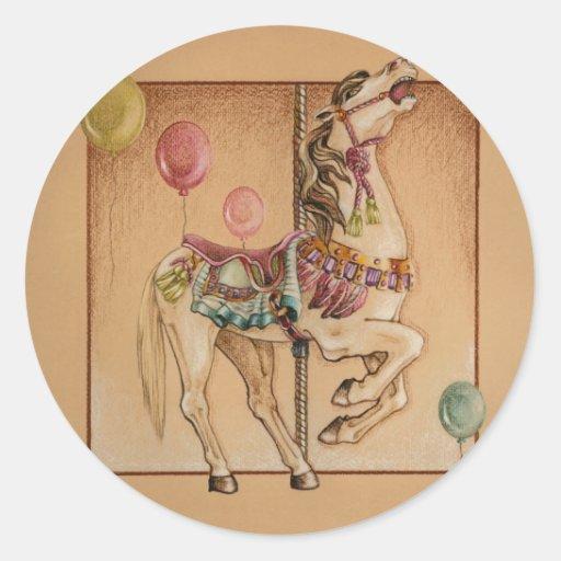 Pegatinas - carrusel feliz del caballo pegatina redonda