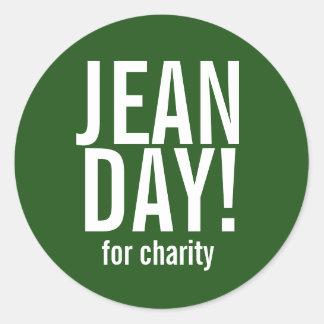 Pegatinas casuales verdes del día de Jean Pegatina Redonda