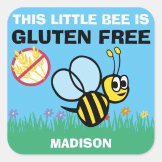 Pegatinas celiacos del abejorro libre del gluten pegatina cuadrada