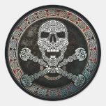Pegatinas célticos del cráneo y de la bandera pira