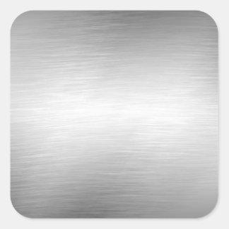 Pegatinas cepillados de la mirada del metal pegatina cuadrada