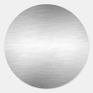 Pegatinas cepillados de la plata de la mirada del pegatina redonda