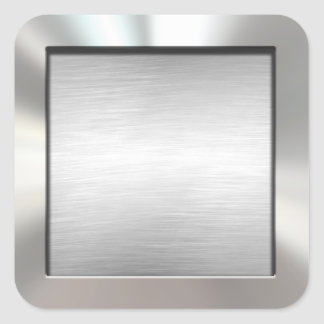 Pegatinas cepillados enmarcados plata del metal pegatina cuadrada