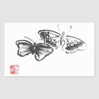 Pegatinas chinos de las mariposas rectangular pegatinas