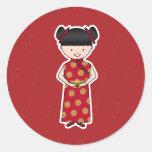 Pegatinas chinos del chica del Año Nuevo Etiquetas Redondas