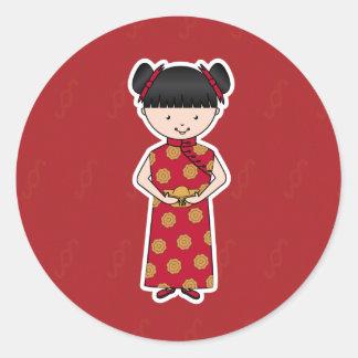Pegatinas chinos del chica del Año Nuevo Pegatina Redonda