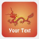 Pegatinas chinos del dragón del rojo y del oro colcomanias cuadradases