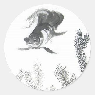 Pegatinas chinos del estilo II del Goldfish del Pegatina Redonda