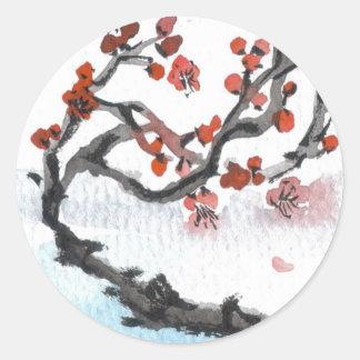 Pegatinas chinos del flor del ciruelo etiquetas redondas