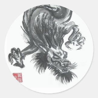 Pegatinas chinos feroces del dragón pegatina redonda