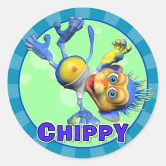 Pegatinas Chippy de la diversión Pegatina Redonda