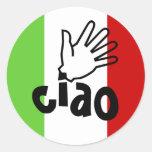 Pegatinas ciao con los sellos del sobre de la etiqueta redonda
