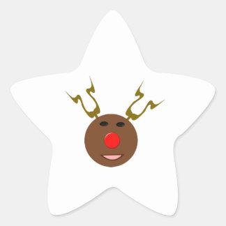Pegatinas cibernéticos del reno del navidad pegatina en forma de estrella