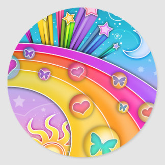 Pegatinas - cielo retro del arte pop de los años pegatinas redondas