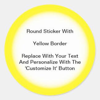 Pegatinas circulares con una frontera amarilla en pegatina redonda