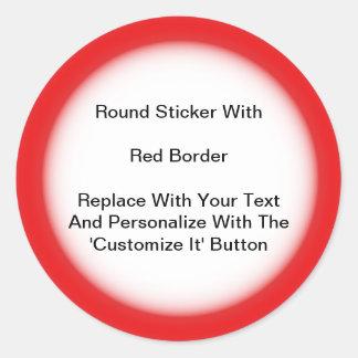 Pegatinas circulares con una frontera roja en pegatina redonda