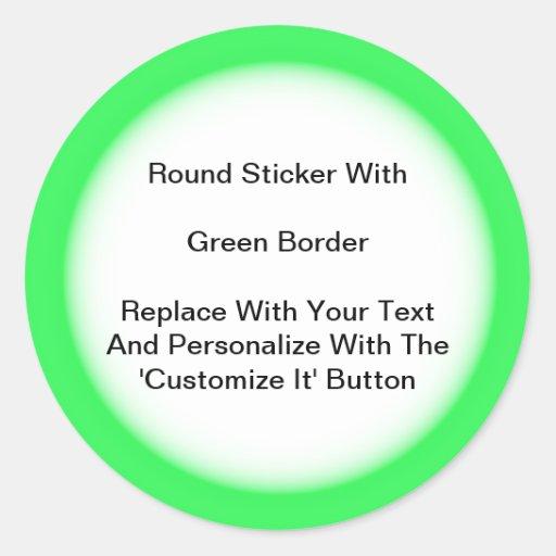 Pegatinas circulares con una frontera verde en pegatina redonda