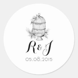 Pegatinas clásicos de la invitación del boda del pegatina redonda
