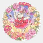 Pegatinas color de rosa del conejito de la pegatinas redondas