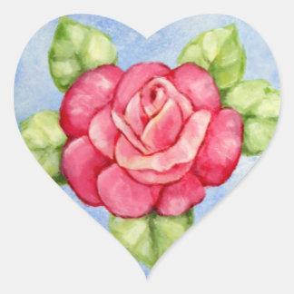 Pegatinas color de rosa del corazón pegatina en forma de corazón