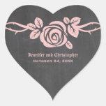 Pegatinas color de rosa rosados del boda de la calcomanía de corazón personalizadas