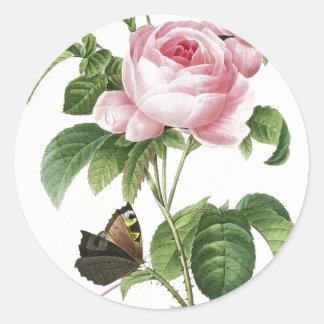 Pegatinas color de rosa rosados del sobre de la pegatina redonda