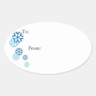 Pegatinas coloreados azul oval de la etiqueta del