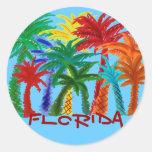 Pegatinas coloridos de la palmera de la Florida Pegatina Redonda