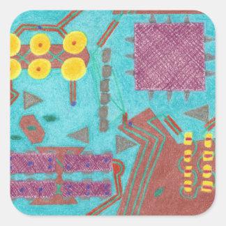 Pegatinas coloridos de la placa de circuito de los pegatina cuadrada