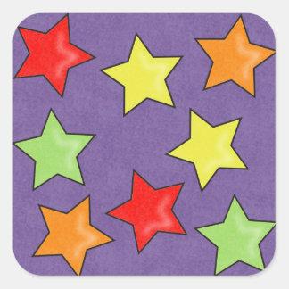 Pegatinas coloridos de las estrellas de la pegatina cuadrada