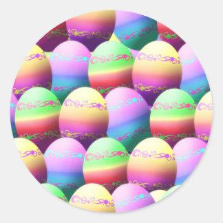 Pegatinas coloridos de los huevos de Pascua Pegatina Redonda