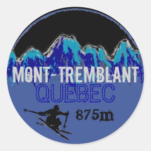 Pegatinas coloridos del arte del esquí de Mont Etiqueta Redonda