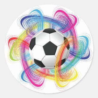 Pegatinas coloridos del balón de fútbol pegatina redonda