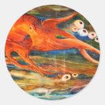 Pegatinas coloridos del buceo con escafandra del etiqueta redonda