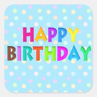Pegatinas coloridos del feliz cumpleaños colcomanias cuadradas
