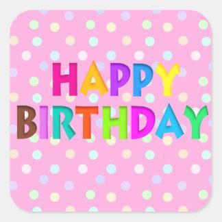 Pegatinas coloridos del feliz cumpleaños pegatina cuadradas