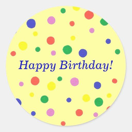 Pegatinas coloridos del feliz cumpleaños de los pegatina redonda