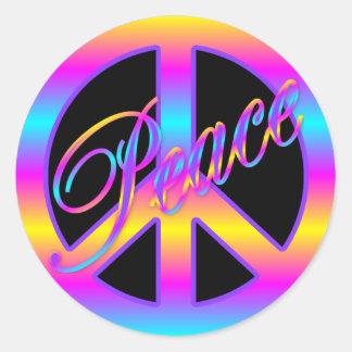 Pegatinas coloridos del signo de la paz etiqueta redonda