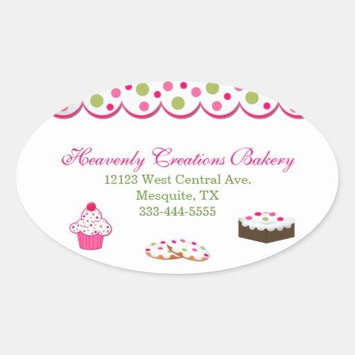 Pegatinas coloridos dulces de la panadería calcomanías de ovales personalizadas