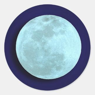 Pegatinas completos de la luna azul pegatina redonda