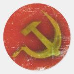 Pegatinas con la bandera vieja sucia de Unión Pegatina Redonda