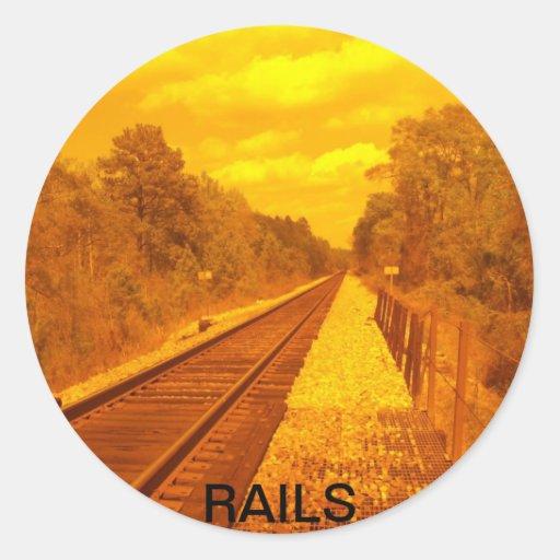 Pegatinas con la foto del ferrocarril y palabra pegatinas redondas