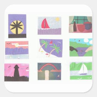 Pegatinas con varias escenas de la naturaleza pegatina cuadrada